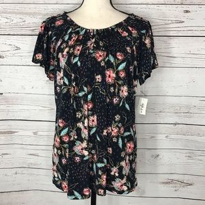 Style & Co Top Floral Cap Sleeve Pleated Stretch